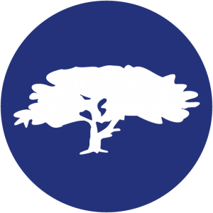 A blue circle with the illustration of a large white tree within it